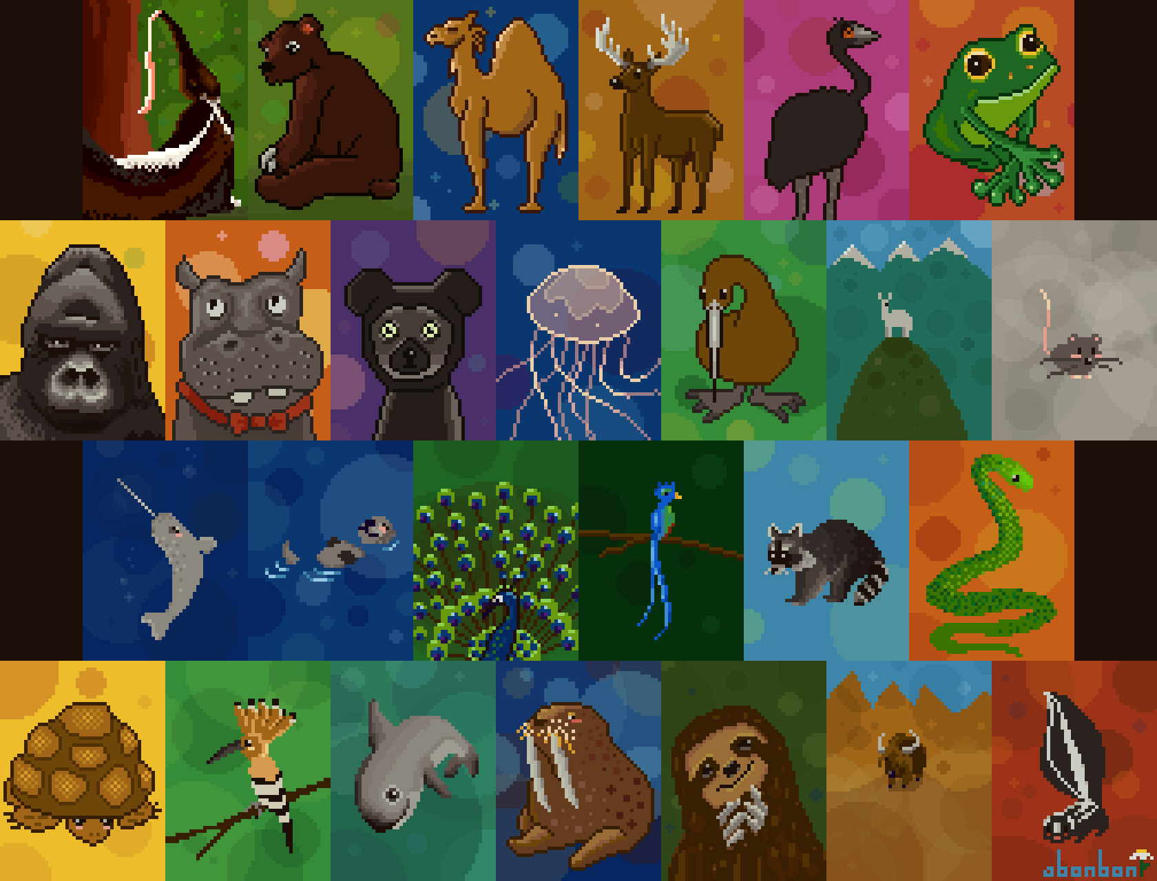 abcdailies Animals Pixel Art Collage by Bonnie K Thompson