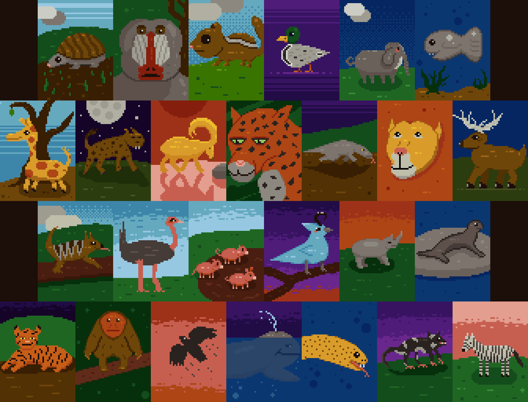 abcdailies Animals Pixel Art Collage by fedellen