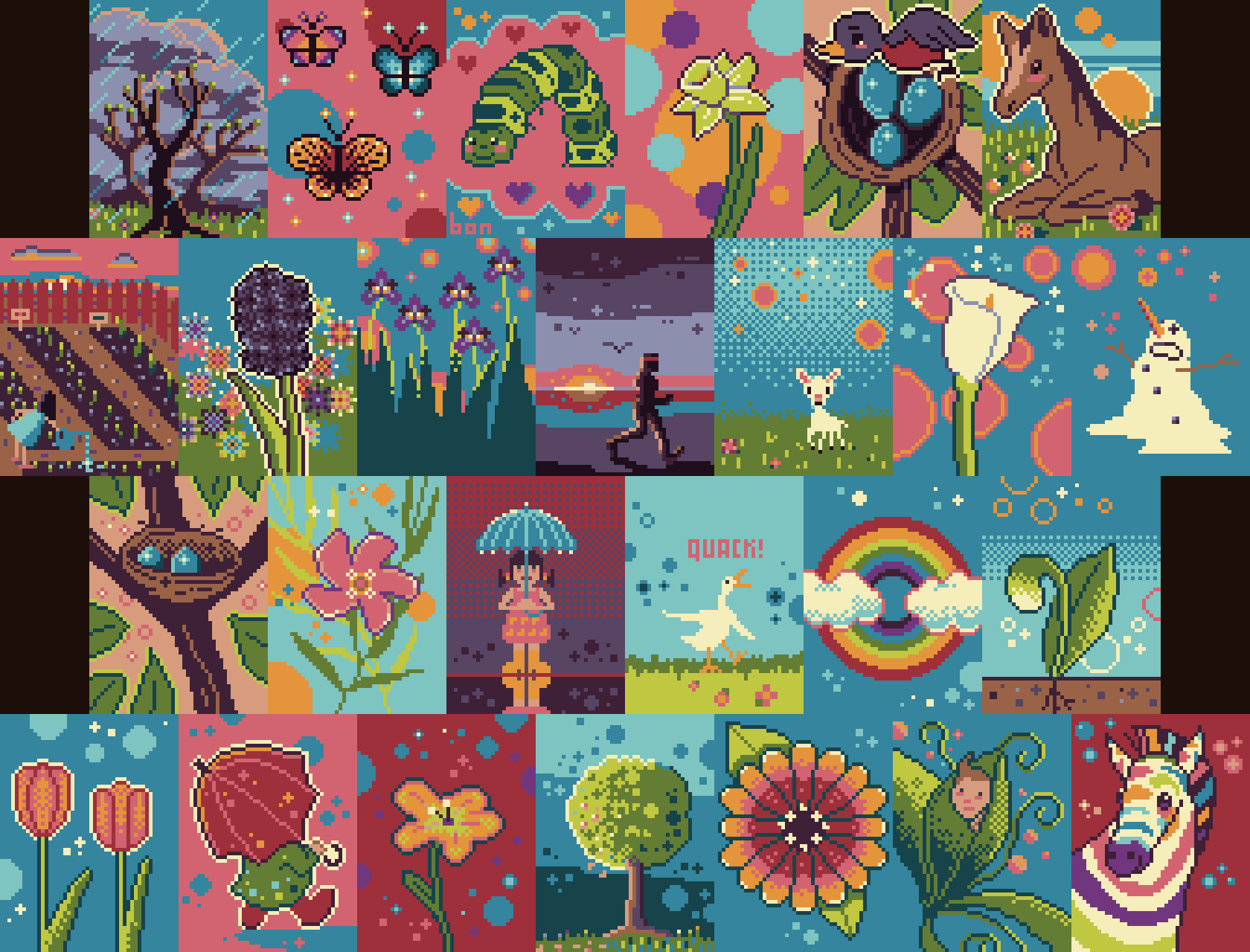 abcdailies Spring Pixel Art Collage by Bonnie K Thompson