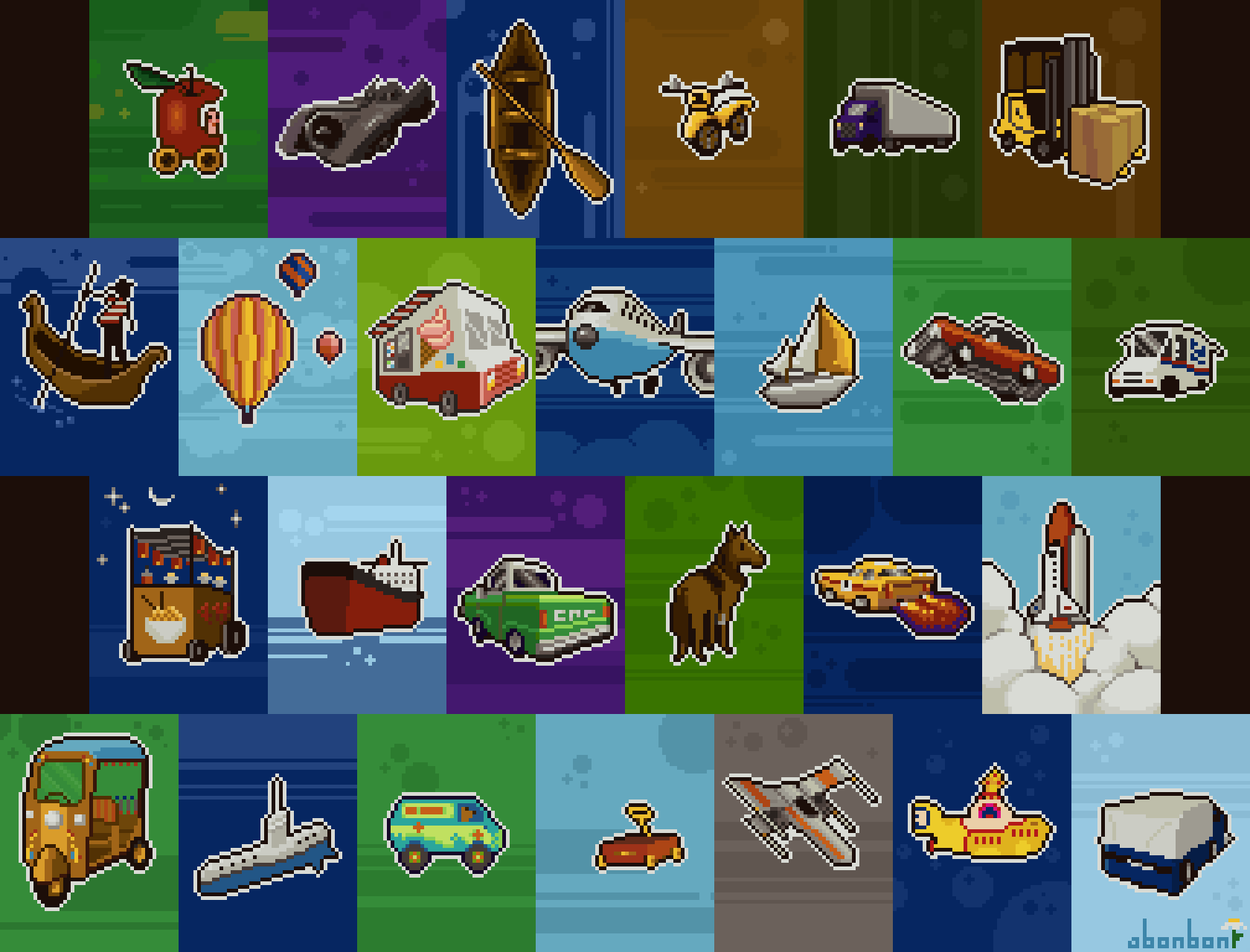 abcdailies Vehicles Pixel Art Collage by Bonnie K Thompson