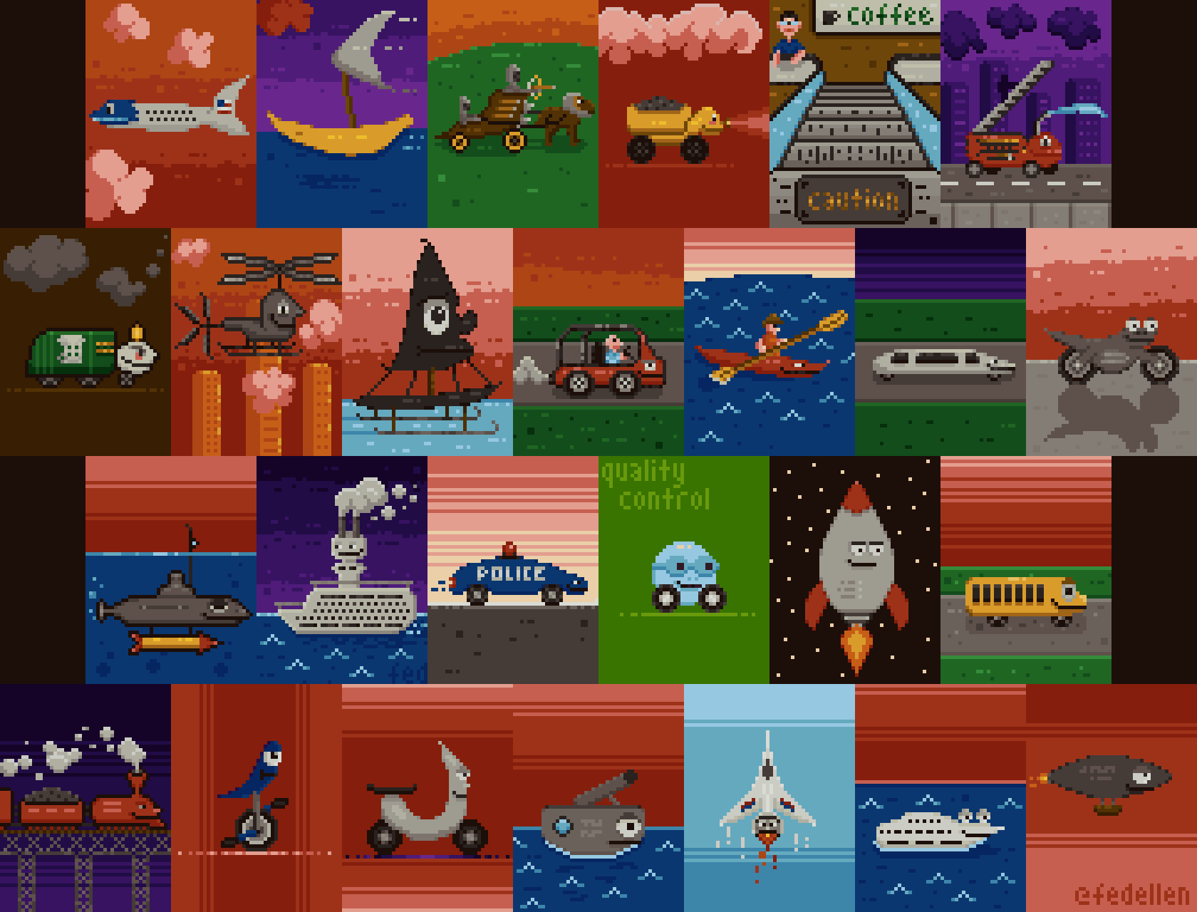 abcdailies Vehicles Pixel Art Collage by fedellen