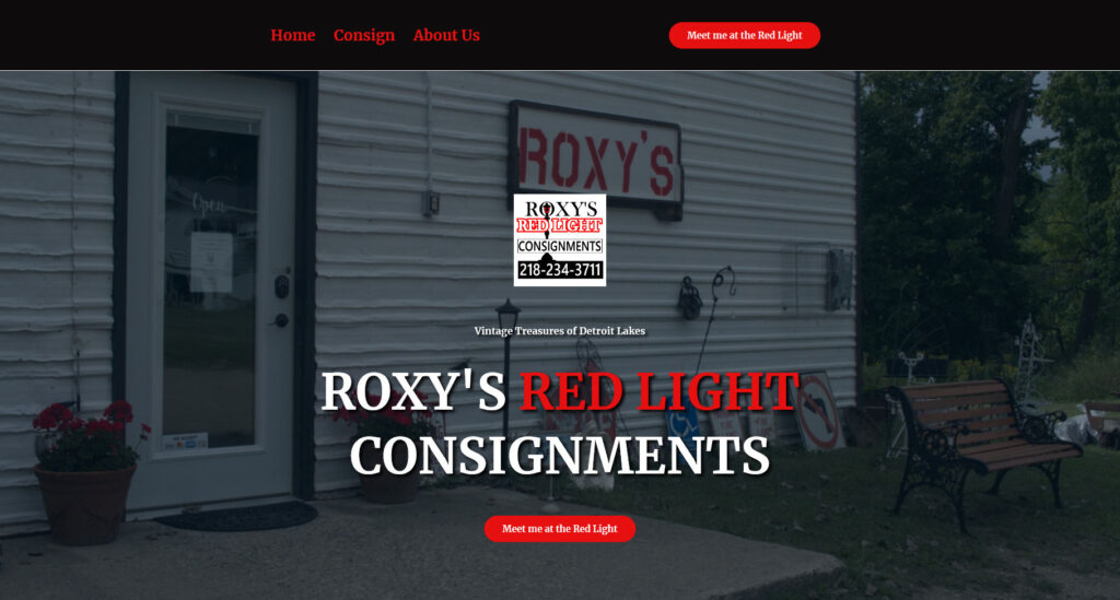 Roxy's Red Light Consignments Dot Com designed and developed by fedellen, Derek Sonnenberg