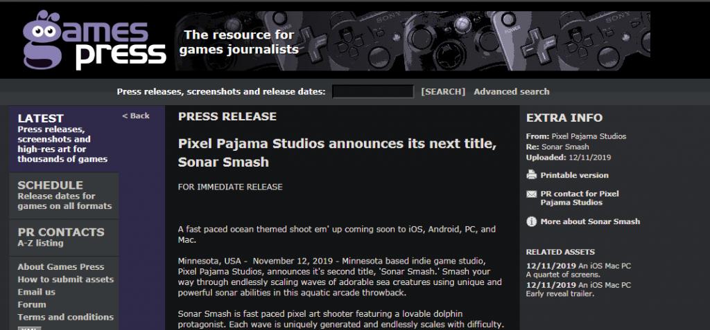 Sonar Smash Gamespress Press Release