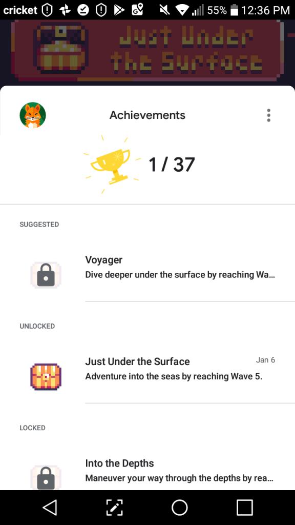 Sonar Smash Google Play Achievements Screenshot